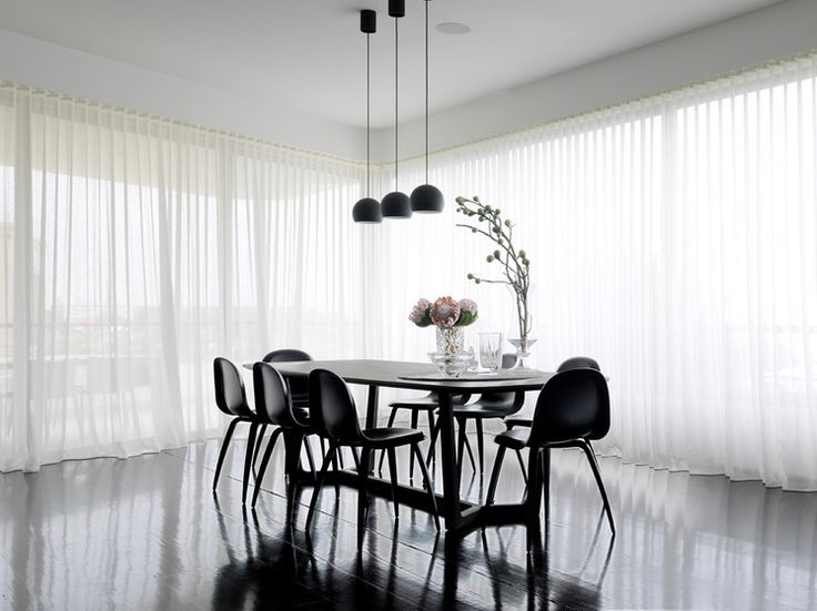 Contemporary Dining Room looks stunning with S Fold sheer curtains