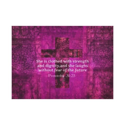 Proverbs 31:25 Inspirational Bible Verse for Women Gallery Wrapped Canvas