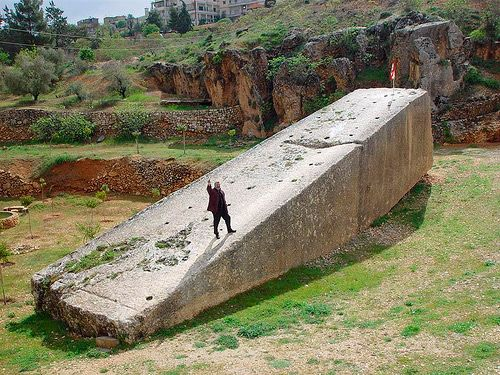 """Stone of the Pregnant Woman - The BaalBek Block - A huge block, considered the largest hewn stone in the world, still sits where it was cut almost 2,000 years ago. (Some say 12,000 years ago) Called the """"Stone of the Pregnant Woman"""", it weighs an estimated 1,000 tons. Not even our biggest and best cranes in modern times could lift this stone block, so how on earth was it moved to its present position?"""