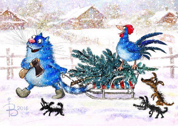 Кот и петух готовятся к Новому году . Рина Зенюк