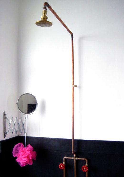 simplicityBathroom Design, Copper Pipe, Bathroom Dreams, Shower Head, Interiors, Bathroom Ideas, Expo Copper, Copper Bathroom, Bathroom Decor