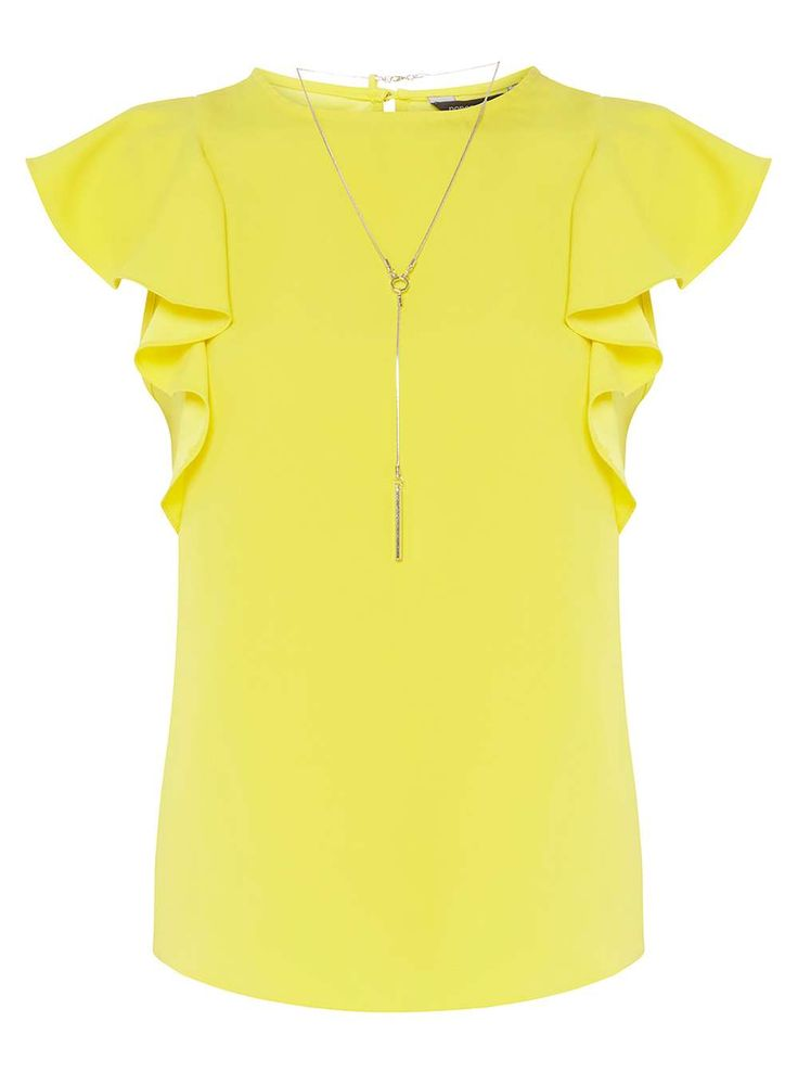 Womens Yellow Ruffle T-Shirt with Necklace- Yellow