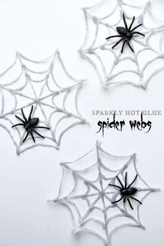 These are cool! Sparkly Hot Glue Spider Webs for Halloween
