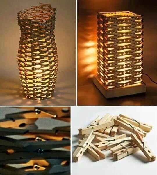 Lampada mollette legno