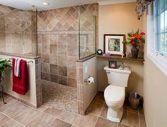 Walk In Shower Tiles Half Wall Master Bathroom Ideas