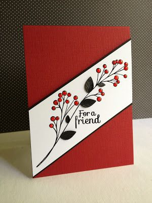handmade card ... clean and simple beautiful ...  red and white with black accents ... diagonal band with berry branch ... luv the black die cut leaves and the Glossy Accents on the red berries ... great card!