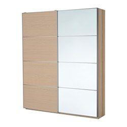 PAX Wardrobe, white stained oak effect, Auli Ilseng - 200x44x236 cm - IKEA