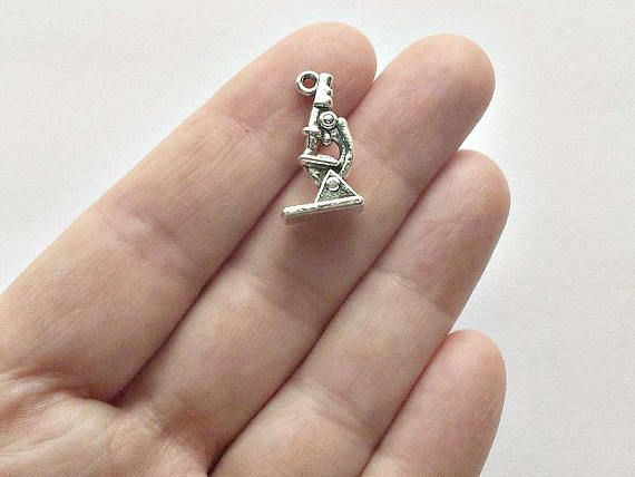 6 Microscope Charms  Science Charms  Teacher  Gift  S0320