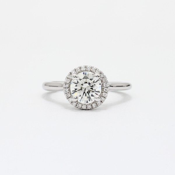 1.00 - 1.09 ct. Plain Shank Floating Halo Engagement Ring in 14k White Gold