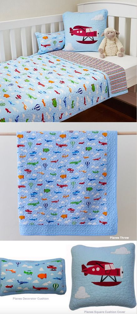 3 Pc Boys Blue Cot Crib Quilt Set Planes Infant Nursery Baby Blanket 100% Cotton