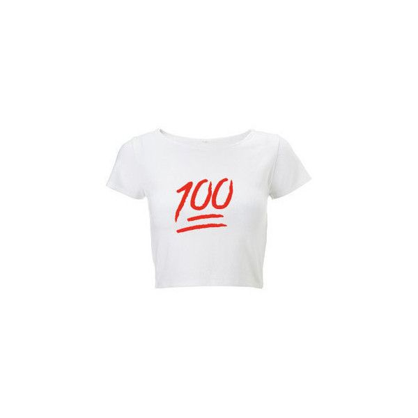 100 Emoji Crop Top ($12) ❤ liked on Polyvore featuring tops, shirts, crop tops, white top, vintage shirts, crop top, shirt crop top and vintage tops
