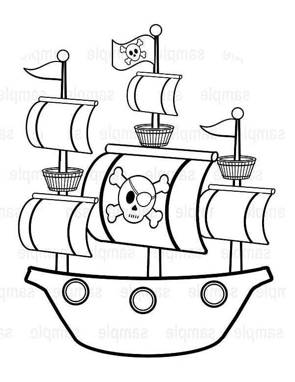 , Simple Pirate Ship Caravel Drawing Coloring Page: Simple Pirate Ship Caravel…