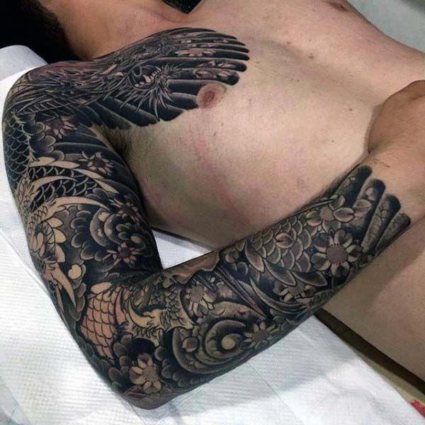 Japanese Dragon Dark Black Ink Mens Full Sleeve Tattoo Fullsleevetattoos Sleeve Tattoos Full Sleeve Tattoos Black Sleeve Tattoo
