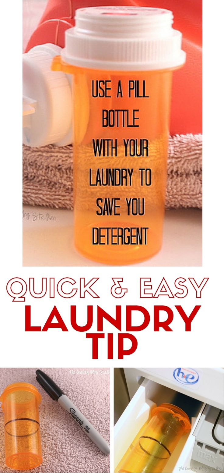 Are you going through liquid laundry soap too fast? Use this easy laundry tip to save you liquid laundry detergent and time. All you need is a pill bottle!