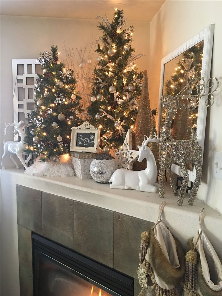 Warm and Cozy Corner Mantle Christmas Decor. Reindeer White Silver Gold