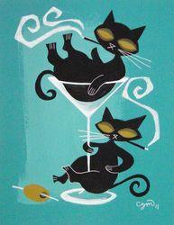 El Gato Gomez - mid century modern art style, stylized black cats in martini glass