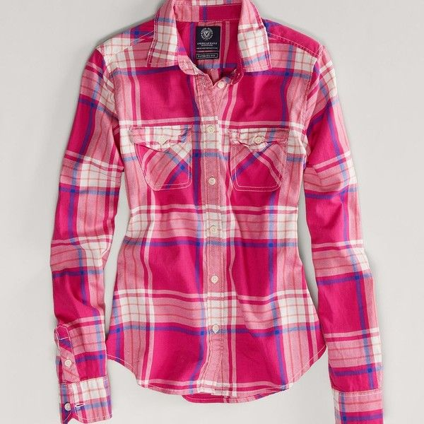 AE Favorite Light Flannel Shirt ($35) ❤ liked on Polyvore featuring tops, red, pink button-down shirts, red plaid shirt, button front top, red flannel shirt and flannel shirts