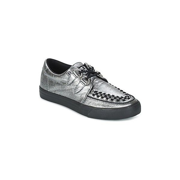 TUK CREEPERS SNEAKERS Casual Shoes ($84) ❤ liked on Polyvore featuring shoes, sneakers, silver, silver sneakers, t u k sneakers, low profile shoes, low profile sneakers and t u k shoes