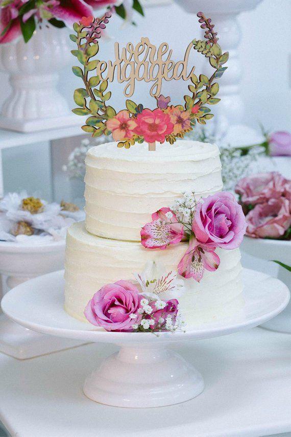 Engagement Cake Topper Decoration Engaged Party Wedding Cake