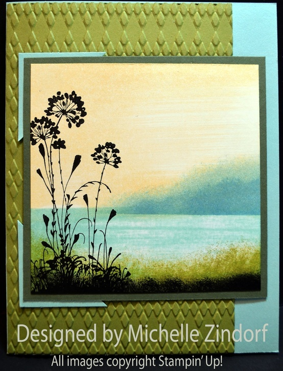 Stampin' Up! Stamps: Serene Silhouettes (127322)    Card Stock: Stampin' Up! Whisper White, Old Olive, Pool Party and Always Artichoke    Ink: Stampin' Up! Old Olive, Basic Black, Marina Mist, Pool Party, Baja Breeze and So Saffron    Accessories: Stampin' Up! Punch 1 3/8″ square, Sponges, Big Shot Machine, Argyle Embossing Folder