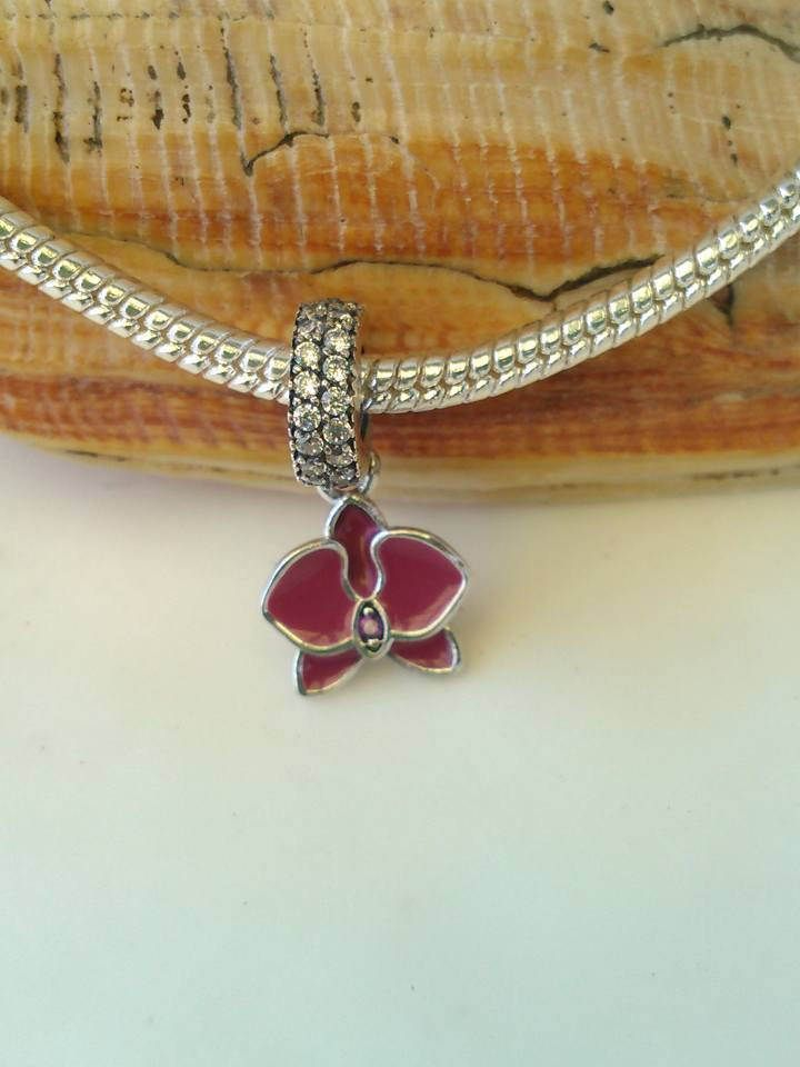 Red Enameled Orchid with Red/Clear Rhinestone Accents S925 Silver Pandora Style Charm by OurBeads4You on Etsy