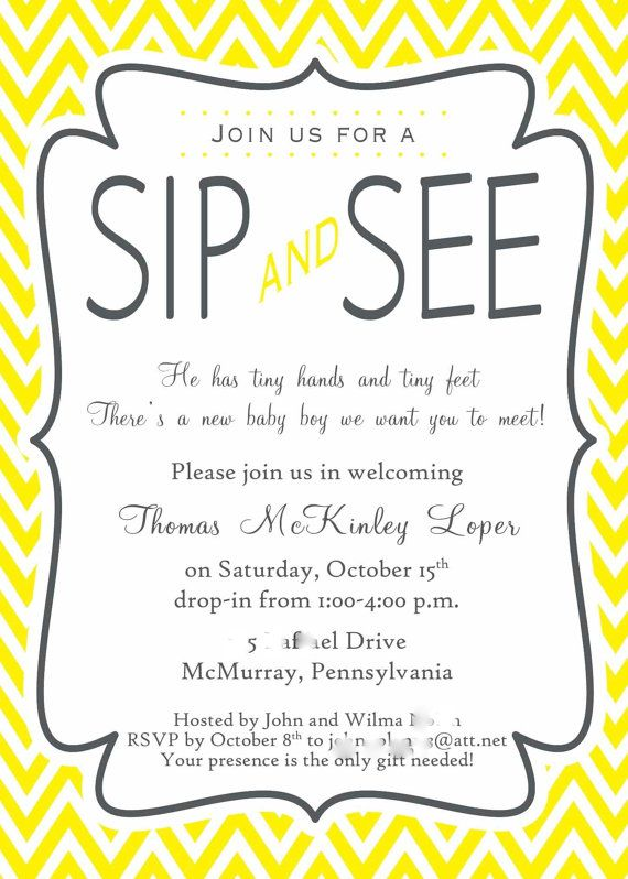 Sip and See Invitation Wording | Sip & See Shower Party ...