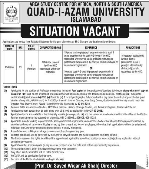 Quaid E Azam University Islamabad   Daily PaperPk Jobs In