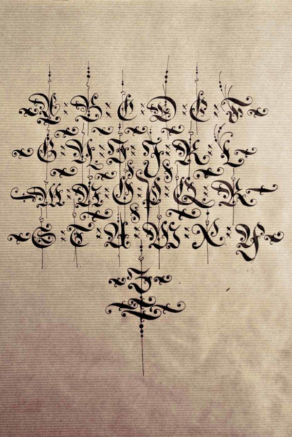 Diverse blackletter alphabets done with the parallel pen and pointed pen in 2012/13 | Bertram Kaiser