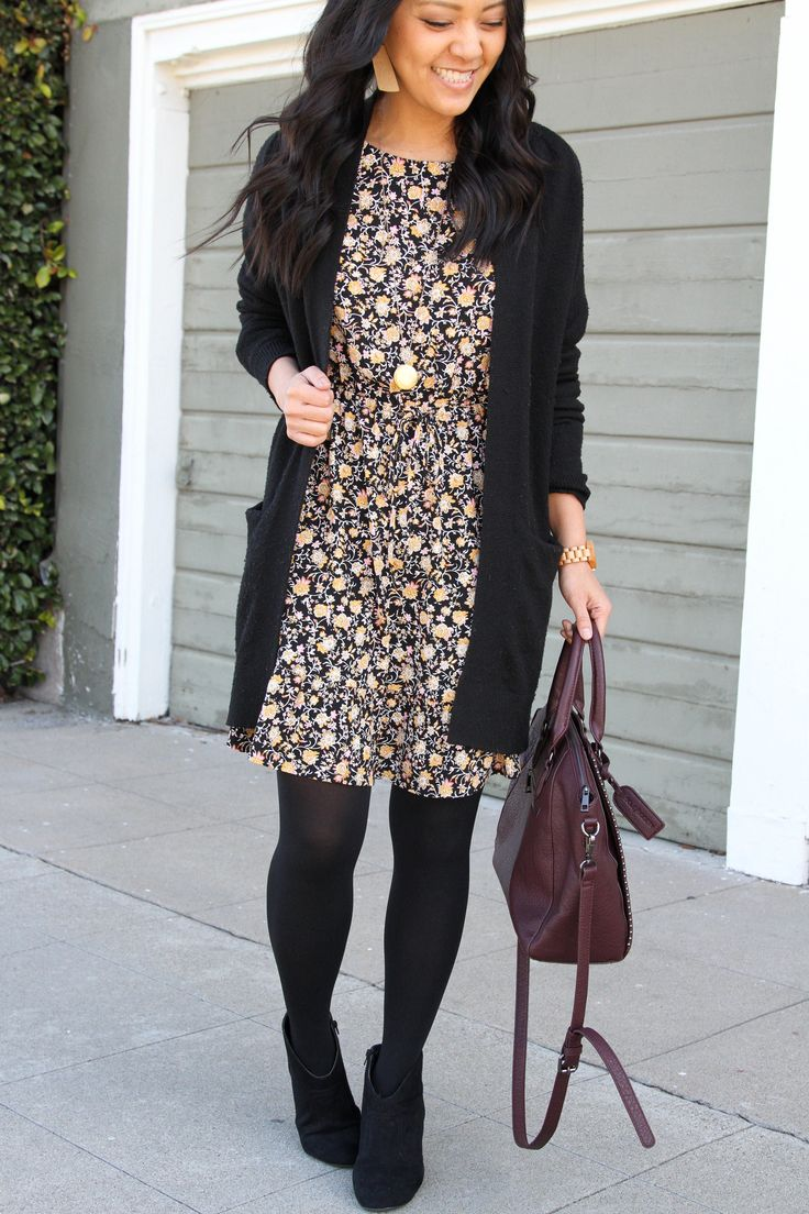 How to Wear a Dress in Different Seasons: Black Floral Print Two Ways