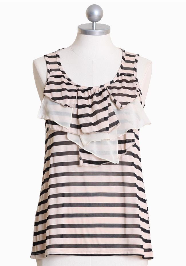 "SUMMER WISHLIST: Gondola Romance Ruffle Top $41.99 at shopruche.com. Wonderful light weight top with black and tan stripes. All of the black stripes are made up of a semi sheer mesh. Has ruffles in the front in the same stripes and cream colored chiffon. 60% Polyester, 40% Viscose  Imported 25"" length from top of shoulder"