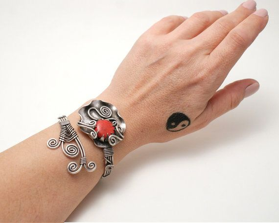 Free Shipping Coral Bracelet Silver Red Coral Cuff by BeyhanAkman