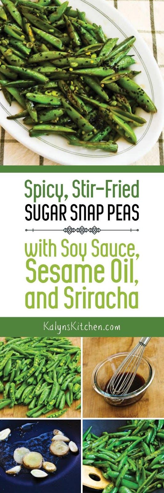 If you buy those big bags of sugar snap peas from Costco, you MUST TRY this amazing recipe for Spicy Stir-Fried Sugar Snap Peas with Soy Sauce, Sesame Oil, and Sriracha! And this vegan stir fry is also low-carb, gluten-free, dairy-free, and South Beach Diet friendly. [found on KalynsKitchen.com]