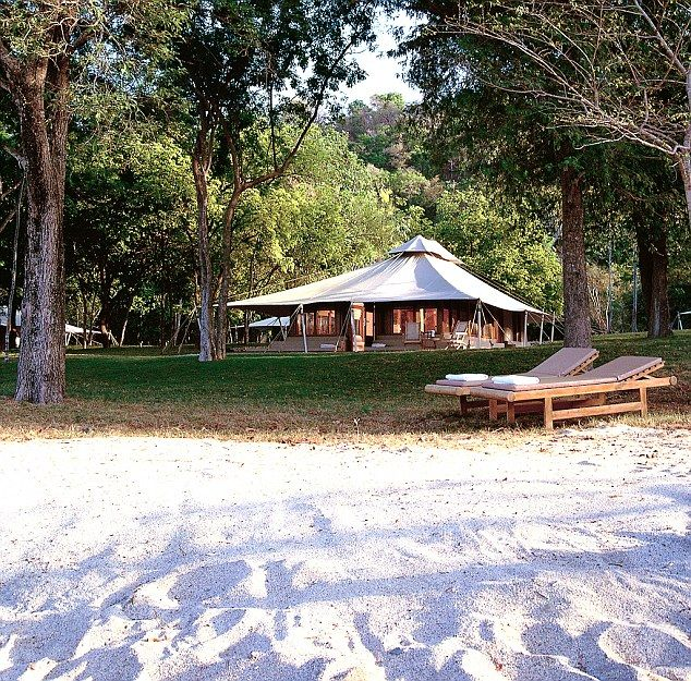 """Amanwana """"camping"""" tented resort on Moyo Island in Sumba, east of Bali special because of castaway feel, """"not the spectacular architecture of the other Aman resorts, and jungle location is relatively dark."""""""