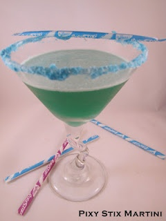Pixy Sticks Martini  Ingredients:  1 oz Vodka (Ciroc) OR Gin  1 oz Blue Curacao  1/2 oz Midori  2 oz Pineapple juice    Pour out some blue (or your favorite color) Pixy Stix onto plate (use one color for best effect).  Dip rim of martini glass in water, then coat rim in Pixy Stix.    Add all ingredients to cocktail shaker with ice.  Shake well, then strain into martini glass.  Enjoy!  Recipe from Rock UR Party