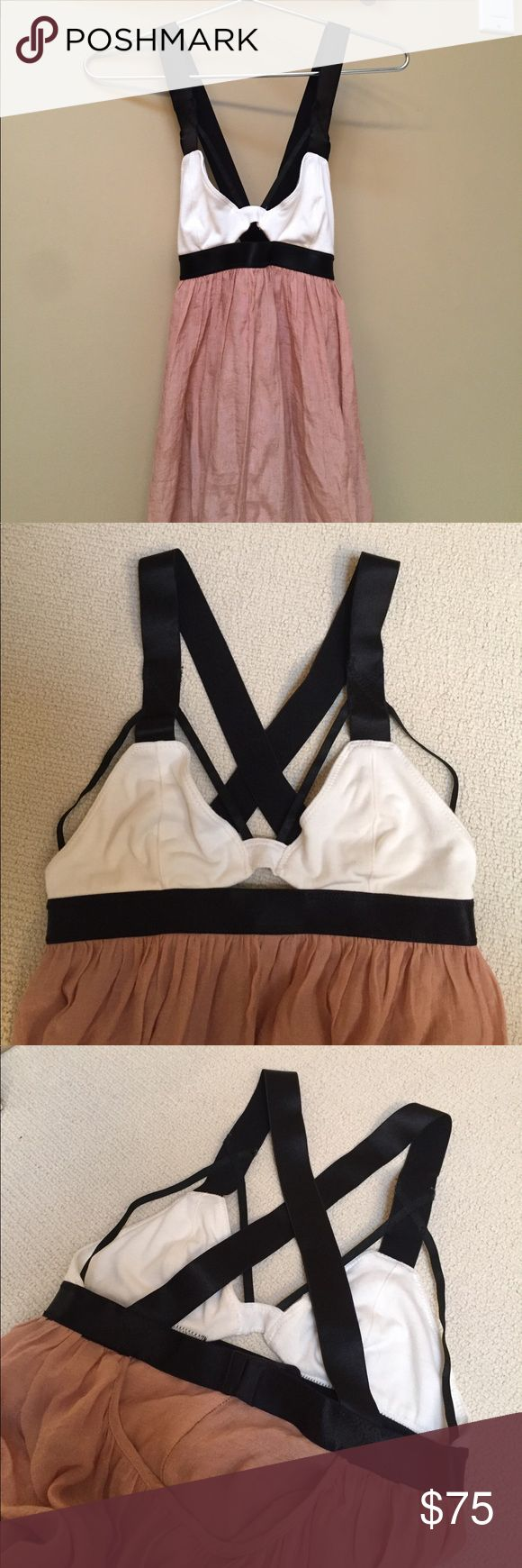 Blessed Are The Meek Maxi Dress Tan skirt with black & white cutout top, purchased from Free People. Only worn once. Free People Dresses Maxi