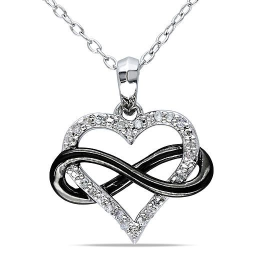 Diamore 1/10 CTTW Diamond Heart Infinity Necklace in Sterling Silver with Black Rhodium