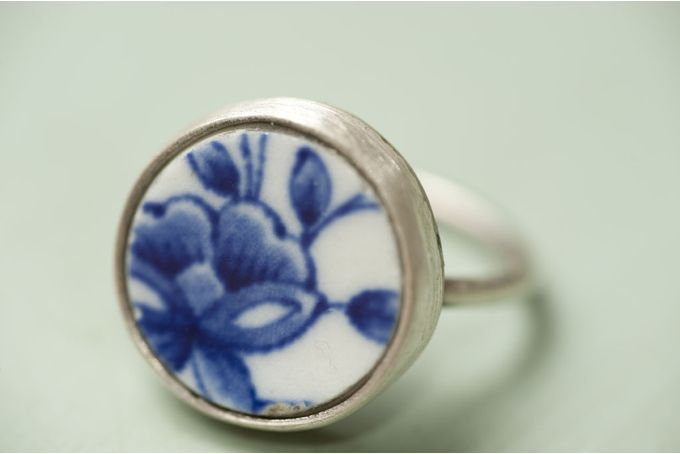 Vintage porcelain set in silver ring by Natasha Wood Jewellery