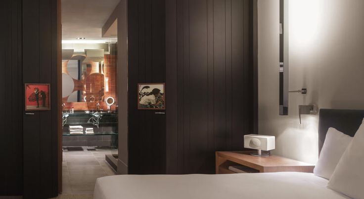 Contemporary interior with dark woods and bathroom copper highlights.
