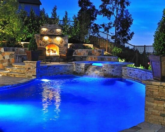 Like the fireplace by the pool... like the multi level sitting areas
