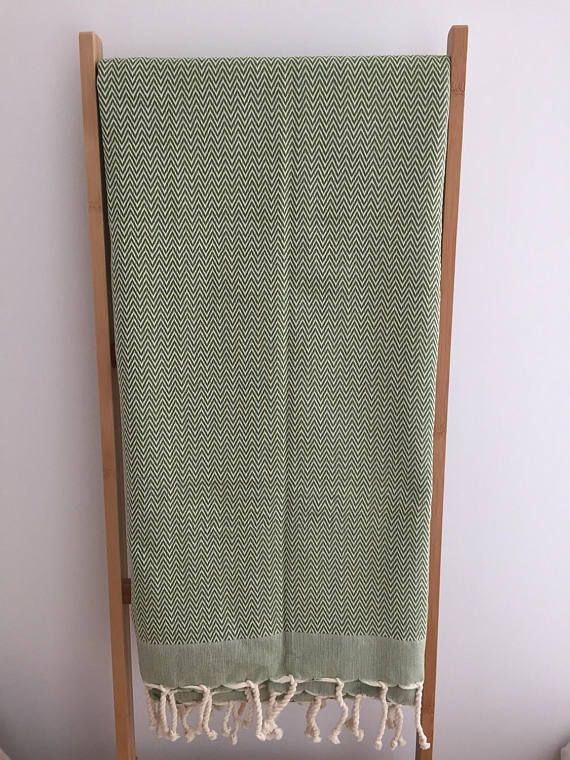 Foutas tunisienne serviette absorbante drap de plage verte