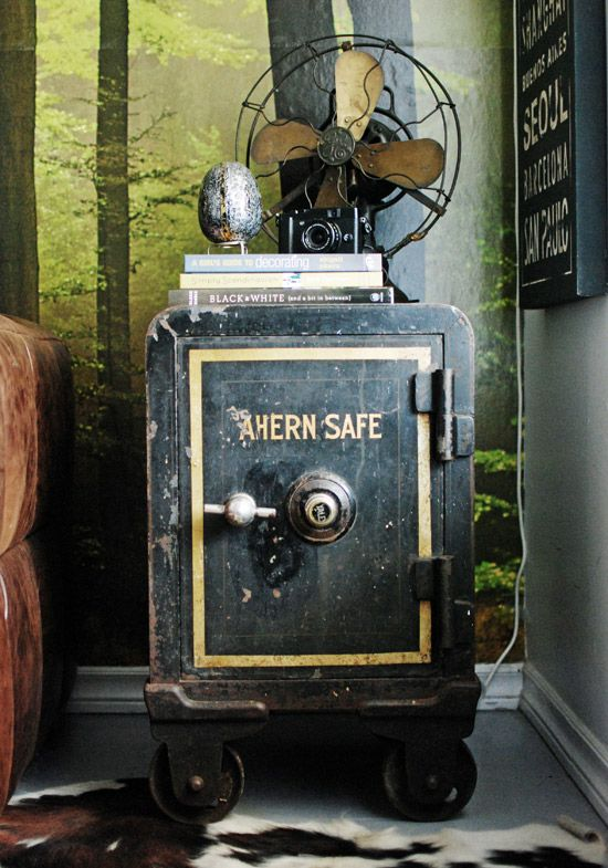 Vintage safe used as side table