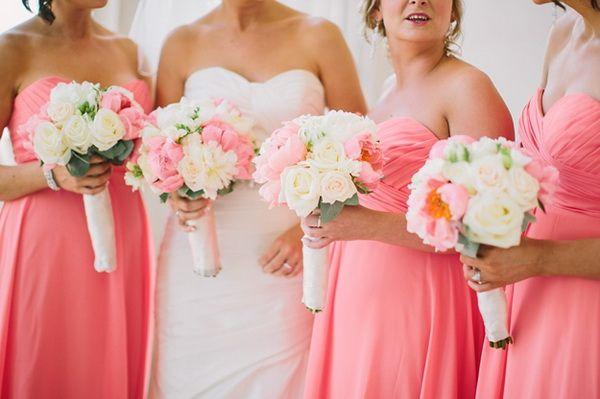 long coral pink bridesmaid dresses for spring 2014