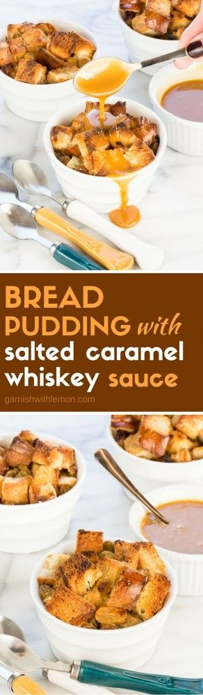 This decadent Bread Pudding with Salted Caramel Whiskey Sauce recipe is the ultimate comfort food dessert - perfect for even non-whiskey drinkers!