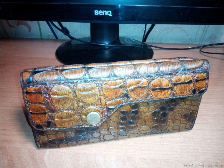Купить Женский кошелёк под крокодила в интернет магазине на Ярмарке Мастеров