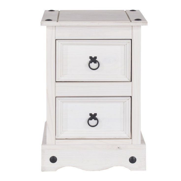 2 Drawer Bedside Table Versatile White Solid Pine Wood Bedroom Furniture
