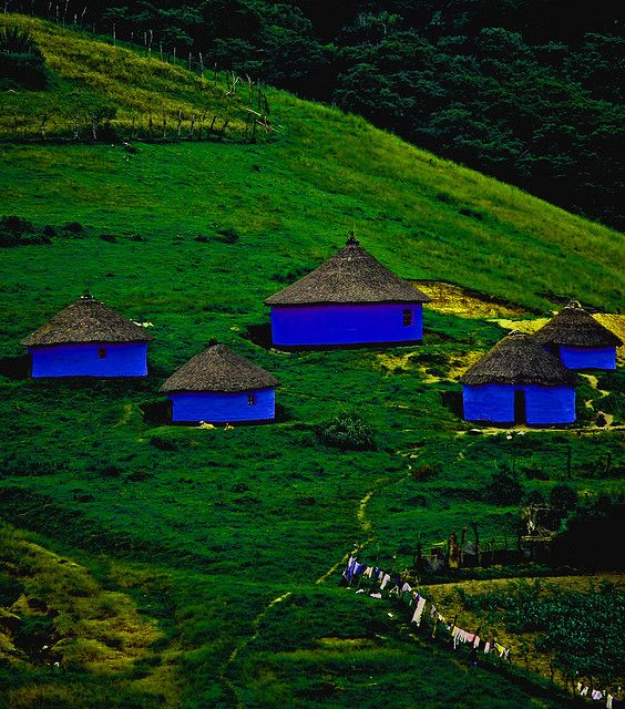 Blue Homes in Transkei, South Africa  Photo by Stewart White