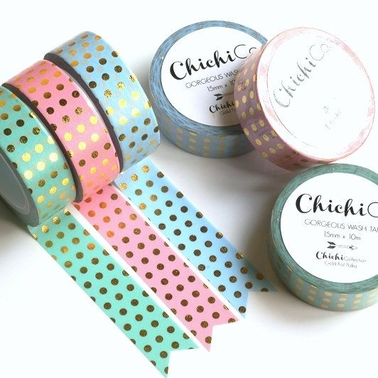 ETSY Chichi Co - Gold Foil Polka Dots on Mint, Pink or Blue Washi Tape. 15mm x 10m Chichi Collection. Gorgeous Gold Foil Masking Tape