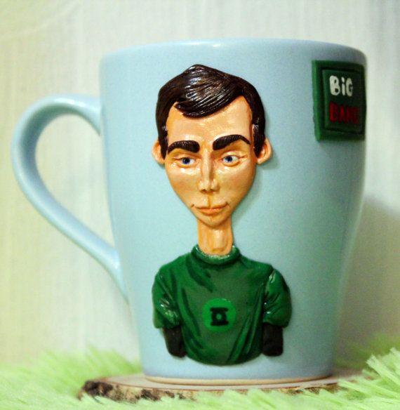Sheldon Big Bang mug cup mug with polymer clay decorative