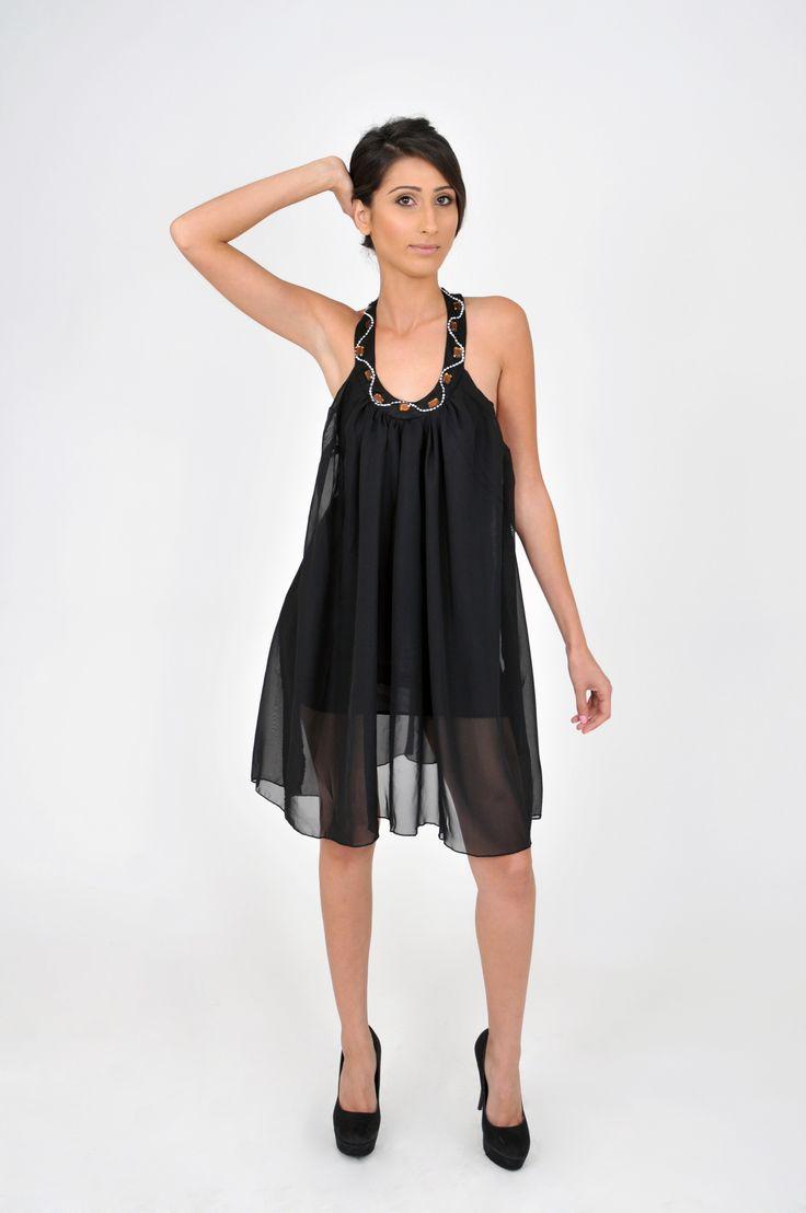 New sexy Fashion in town Backless Jewel Chiffon Halter l Mini Dress