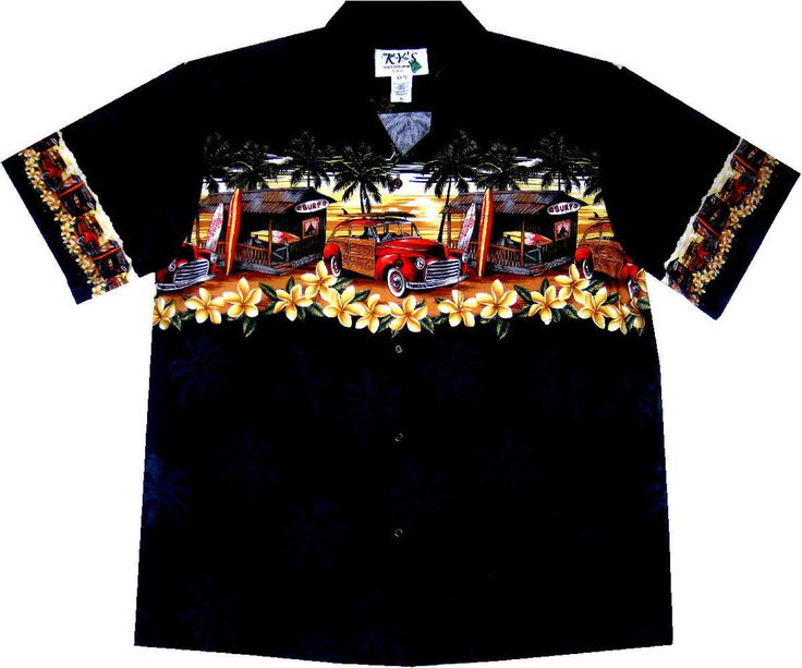 "hawaiian shirt ""Surfing in Hawaii (black)"" / Original Made in Hawaii / 100% cotton / coconut buttons / with breast pocket"